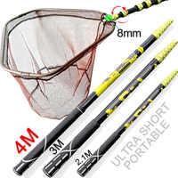 4M 3M 2.1M Fishing landing Hand Nets Folding Carbon rod Nylon Collapsible steel Tackle Rhombus tank Hole Depth Dip Net butterfly