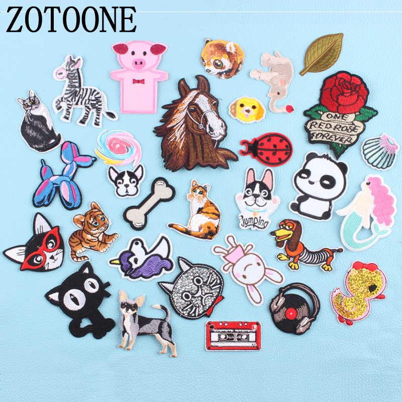 ZOTOON 猫犬ユニコーン花宇宙動物パッチ鉄や生地ステッカーバッジ刺繍アップリケ DIY F