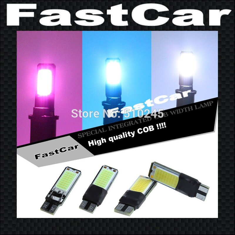 10x Free shipping White blue red pink Car LED T10 COB 194 W5W Wedge LED Light Bulb car Lamp