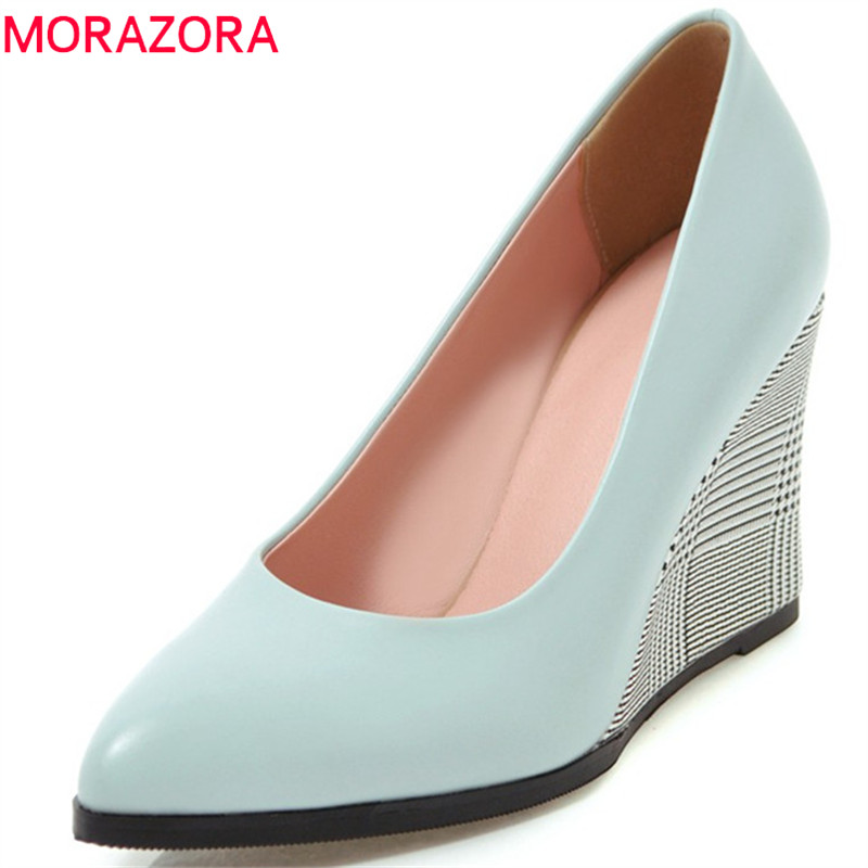 MORAZORA 2018 new arrive women pumps spring summer simple shallow fashion shoes pointed toe comfortable 9cm wedges lady shoes