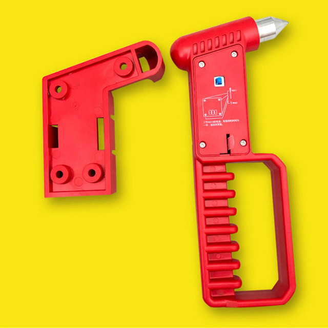 Car Bus Safety Red Hammer Life Saving Escape Emergency Hammer With Long Handle Seat Belt Cutter Window Glass Breaker Rescue Tool
