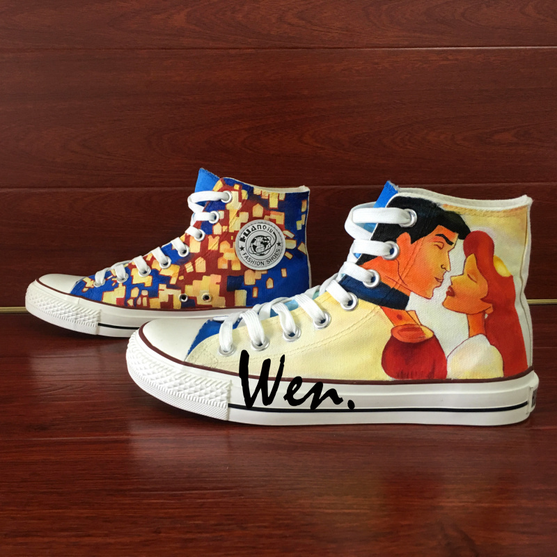 5f462549a065c US $69.0 |Wen Hand Painted Shoes Design Custom Animated Movie Little  Mermaid Tangled High Top Canvas Sneakers for Adults Special Gifts -in ...