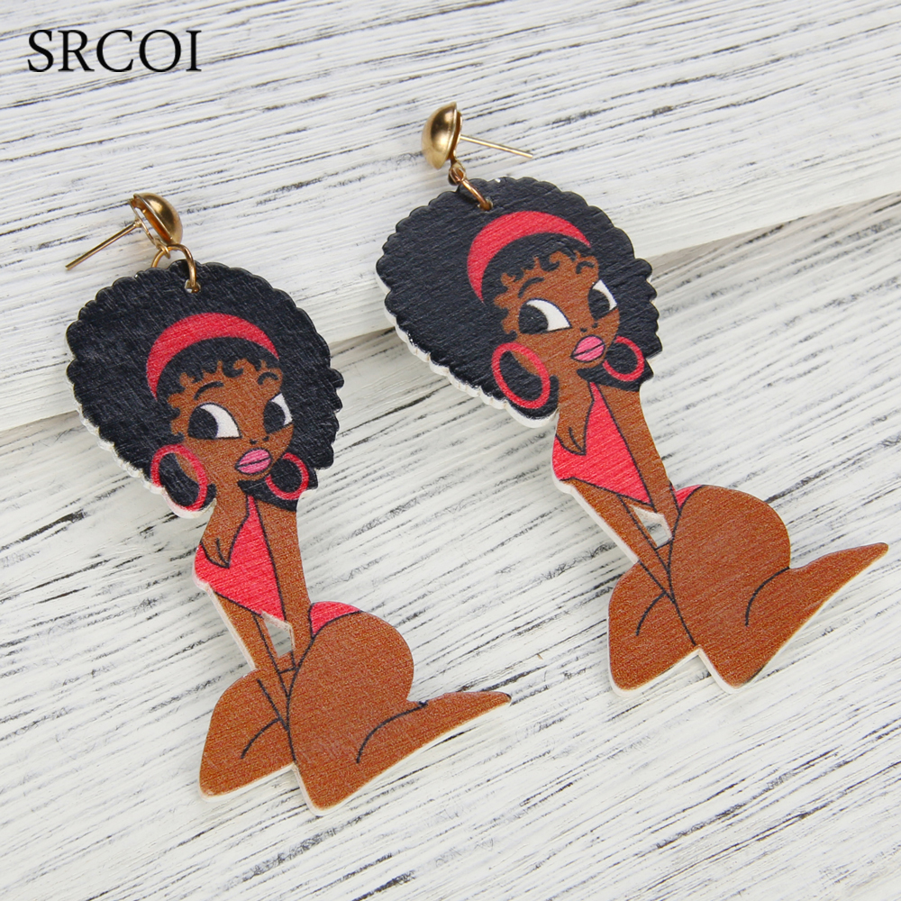 SRCOI Indian African Figure Female Vintage Long Wooden Earrings ...