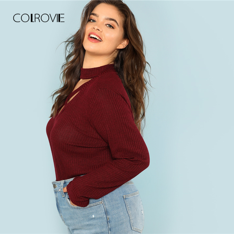 COLROVIE Plus Size Burgundy Criss Cross Sexy Knit T Shirt Women Tops 2018  Autumn Long Sleeve Tee Casual Office Female T Shirts-in T-Shirts from  Women s ... dea9d8b21929