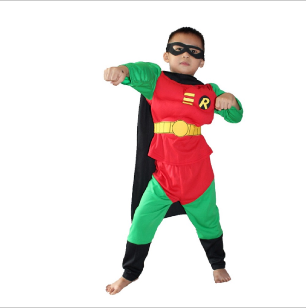 3-7Years Kids Robin Muscle Costume Halloween Costume For Boy Role Play Party Cosplay Disfrace Canaval Costume Clothing Set S-XXL