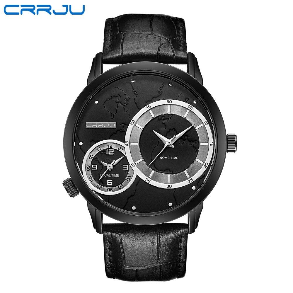 CRRJU Sport Watch Fashion Casual Mens Watches Top Brand Luxury Leather Business Quartz Watch Men Wristwatch