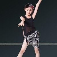 The New Black Jumpsuit Dress For Latin Dance Gauze Scarf Shawl Zebra Suit Children Dance