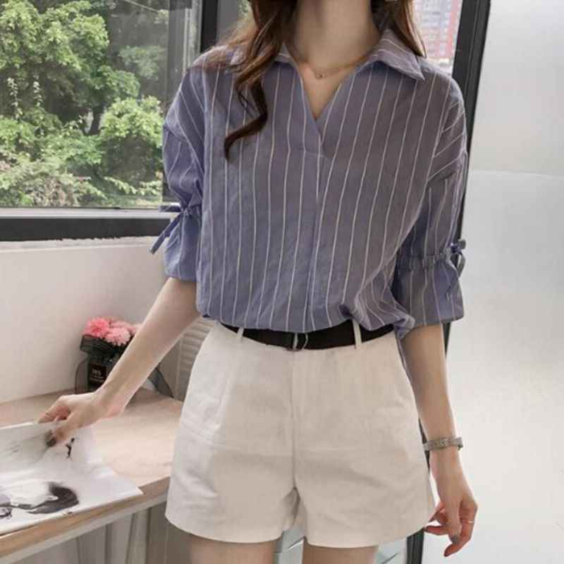 2018 New Lace Up Bow Half Butterfly Sleeve Women Shirt V-neck Loose Blusas Femme Casual Tops Office Lady Tee Plus Size 3XL