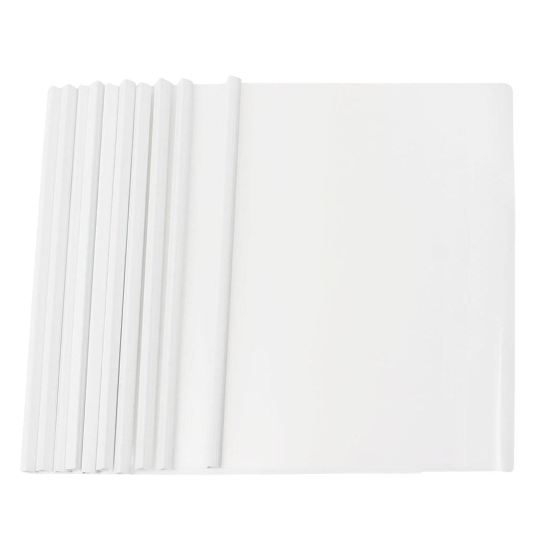 10 Pcs white Plastic Sliding Bar File Folder for A4 Paper Report