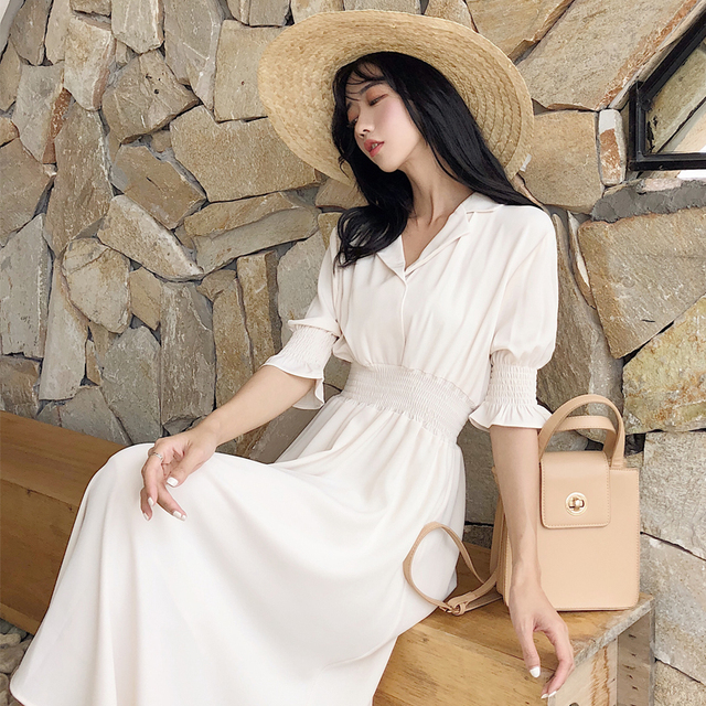 2019 Vintage Summer Long Dress Women Streetwear Short Sleeve Party Dresses Korean Plus Size Beach Boho elegant dress vestidos