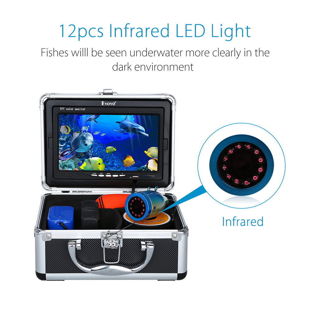 Eyoyo 1000tvl 15M Fish Finder underwater fishing camera hd Video Camera 7 Color Monitor cam fish 12pcs Infrared Lamp For Ice