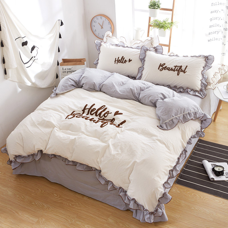 Korean cotton princess wind four sets of water wash cotton <font><b>bed</b></font> skirt bedding bedding skirt quilt double 1.5 / 1.8 / 2.0 m jf0113