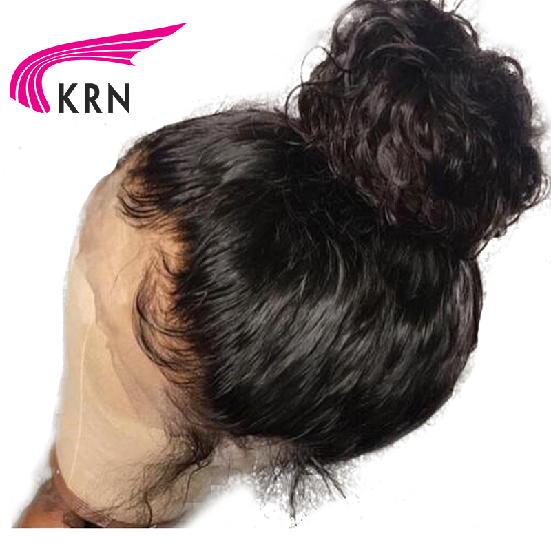 KRN 150 Density 360 Lace Frontal Wigs With Baby Hair Curly Remy Pre Plucked Natural Hairline Brazilian Human Hair Wig Full End
