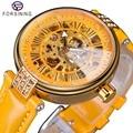 Forsining Giallo Genuino Cinghia di Cuoio Dorato Movimento del Cambio di Visualizzazione Diamante Mens Meccanico Automatico Orologio Da Polso Top Brand di Lusso