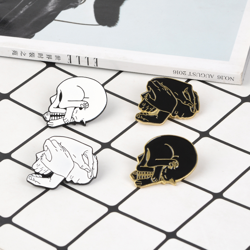 Skull Enamel Pin Black/White Cat and Fish Hand in Hand Skull Brooch Love Skeleton Badges Punk Brooches for friends lovers couple image