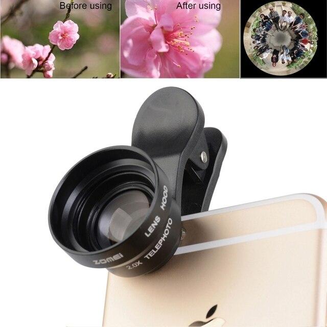 5 em 1 0.36X Wide Angle + 180 Graus Fisheye Macro 6X 12X transparente + capa + 3 clips kit lente do smartphone para o iphone 7 6 samsung