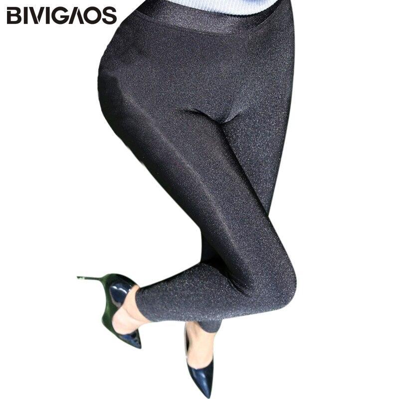 BIVIGAOS New Winter Womens Fashion Thick Velvet Leggings Soft Elastic Shiny Black Leggings Warm Leggings Pencil Pants Women