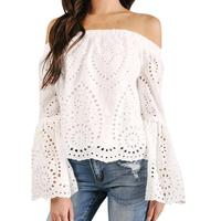 Women Off Shoulder Long Sleeve Hollow Lace Loose Blouse Tops Shirt Flare Sleeve Lace Blouse Camisa
