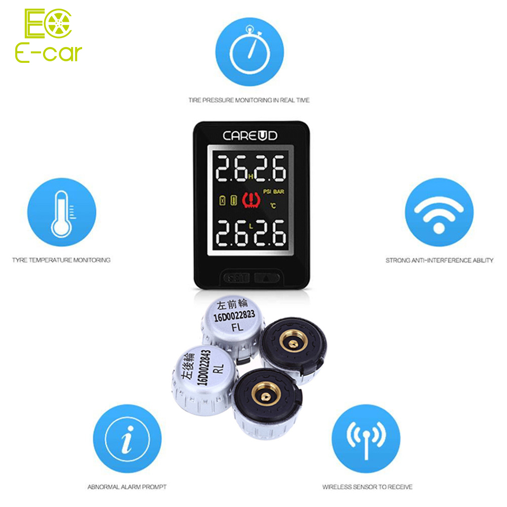 Portable 4 External Sensors Tire Pressure Monitoring Alarm System Car TPMS PSI BAR Diagnostic Tool for Toyota carchet tpms car tire pressure monitoring system auto diagnostic tool tire alarm intelligent system 4 external sensor for toyota