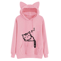 Harajuku Women Hoodies Sweatshirt Kawaii Pink Winter Cat Pattern Long Sleeve Moletom Hooded Sweatshirts Ear Hooed