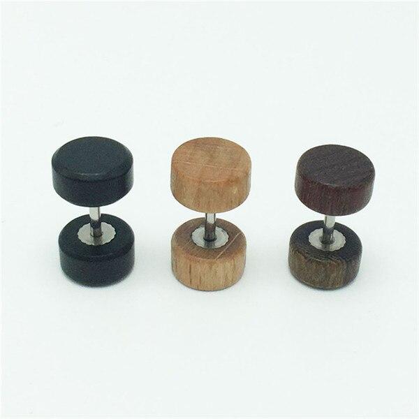 8mm 10mm black brown wooden dumbbell shaped ear studs earrings Plugs Tapers Piercing For Women Men Jewelry