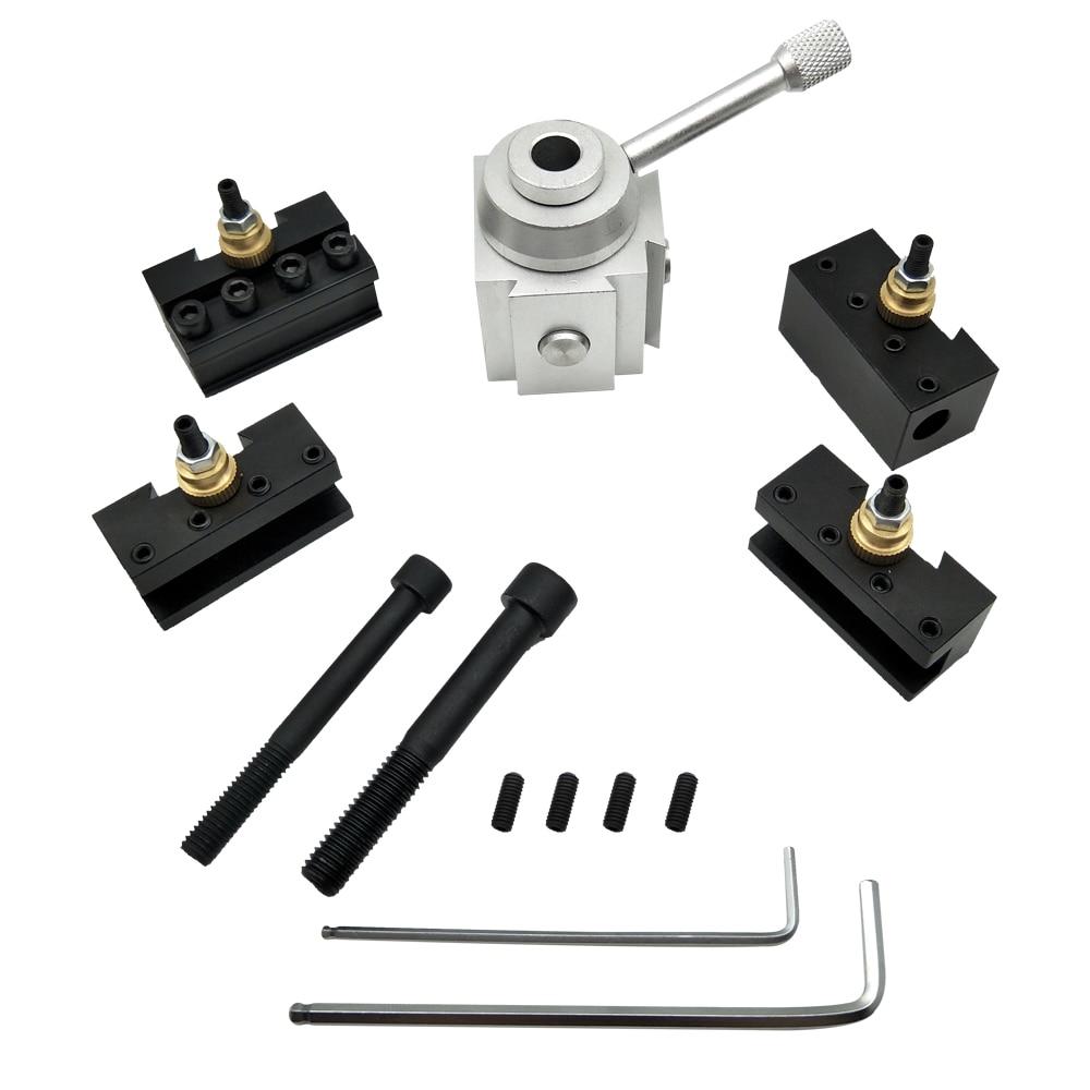 CNC Quick Change Lathe Tool Holder Post Cutter Screw Kit Boring Bar Turning Facing Holder Wrench