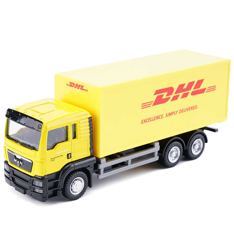 Diecast Truck 1:64 Scale Express DHL Truck Model Yellow Container Transporter Cargo Truck Kids Toys Collection Gift For Child