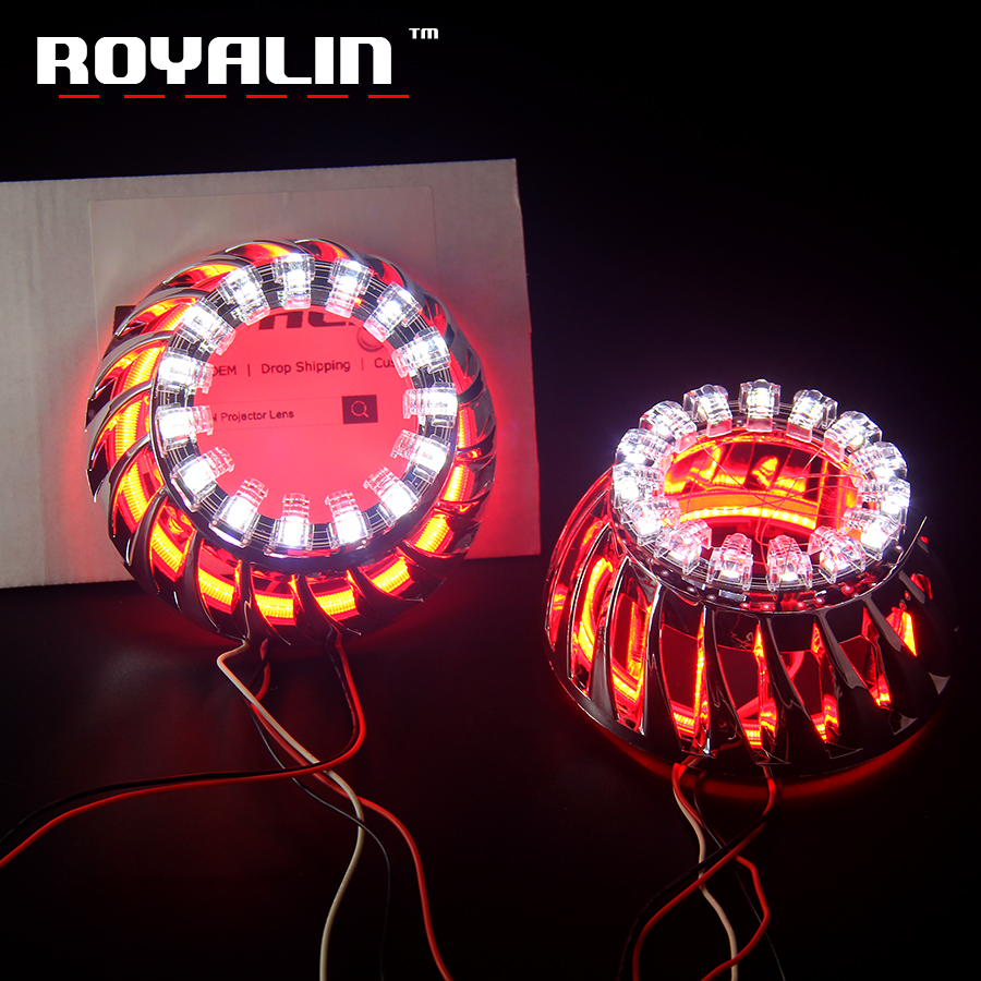 ROYALIN LED DRL Projector Lights Shrouds Double COB Angel Eyes Lotus Halo Rings Turbine White Blue Red Headlights Lens Masks лонгслив printio how i met my trainer