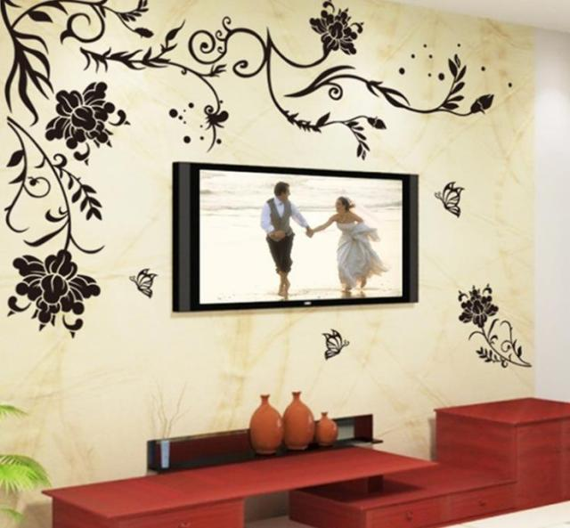 Black simple flower wall sticker romantic vine removable art vinyl quote wall sticker decal mural home