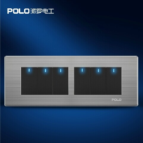 цена на Free Shipping, POLO Luxury Wall Light Switch Panel, 6 Gang 2 Way, Champagne/Black, Push Button LED Switch, 10A, 110~250V, 220V