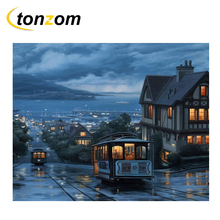 RIHE Night Town Diy Painting By Numbers Track Bus Oil Cuadros Decoracion Acrylic Paint On Canvas Modern Wall Art Gift