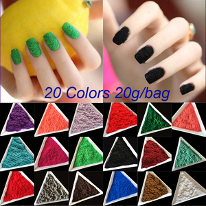 Wholesale 20 Colors 20g/bag Candy Decoration Polish Nail Art DIY Tips Design Velvet Flocking Dust Powder Manicure Velvet Powder