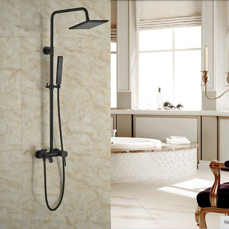Oil Rubbed Bronze Bath Rainfall Shower Set Single Lever Wall Mounted ...