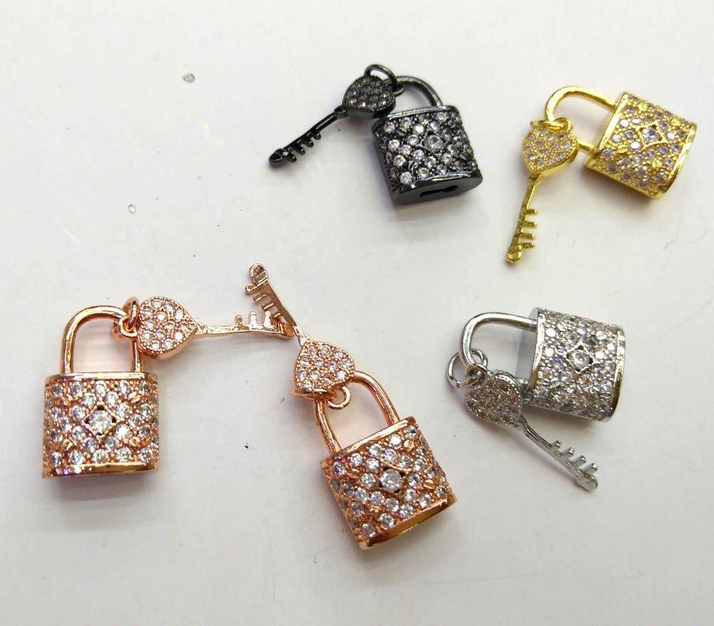 Vente en gros 6 ensembles CZ Micro pavé serrure avec clé pendentif 26-14mm cubique zircone collier Bracelet pendentif/charme