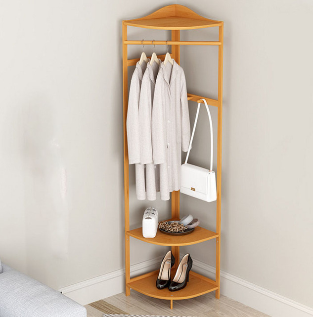 Multifunction Corner Coat Racks Bedroom Shelf Bamboo Easy Assembly Clothes  Storage Rack Hanger Floor 40*