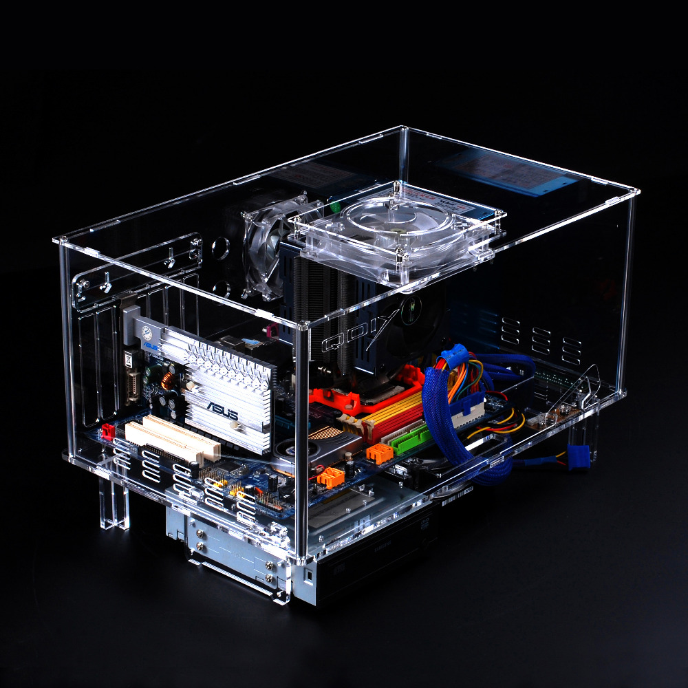 QDIY PC-D777XL  E-ATX Personalized Acrylic Transparent Computer Desktop Game Computer Case qdiy fz tm80c personalized computer case 80mm matte transparent colored lamp cooling fan
