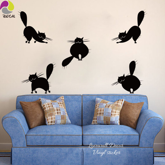 Cartoon Cat Wall Sticker Baby Nursery Set Of 5 Cute Funny Abstract Pussy  Mog Cat Wall
