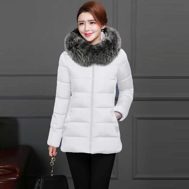 Grote Bont Winter Jas Vrouwen Nieuwe 2019 Mode Katoen Gevoerde Capuchon Vrouwelijke Jas Parka donsjack Winter Jas Vrouwen size S-5XL