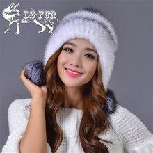 Real mink fur hat with fox fur pom poms adult winter keep ear warm solid fashion cap Knitted genuine fur beanies women's fur hat