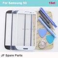 Для Samsung Galaxy S3 i9300 i9305 Синий Черный Белый ЖК Передняя Сенсорный Экран Стекла Внешний Объектива Замена + Наборы Инструментов + 3 М