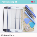 Para samsung galaxy s3 i9300 i9305 azul preto branco lcd frontal touch screen vidro exterior lens replacement + kits de ferramentas + 3 m