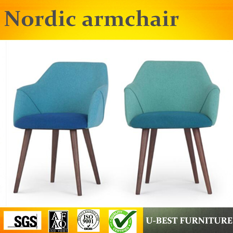 Free Shipping U BEST Leisure Nordic Stackable Wooden Armchair Wood Legs Fabric Upholstered Cafe Dining Room Chair