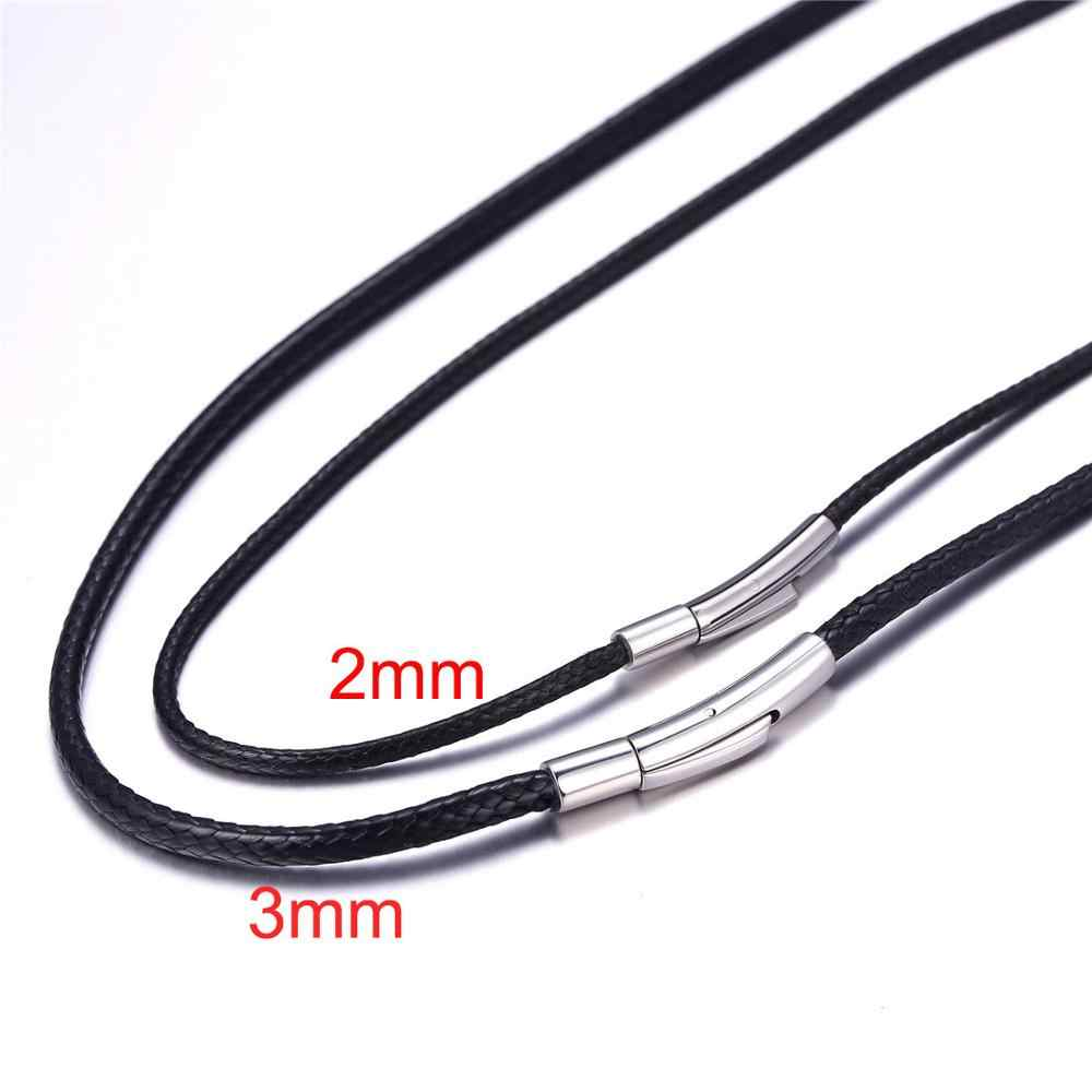 Kpop Black Wax Cord DIY Jewelry Beading Cord Stainless Steel Braided String Rope Chain Necklace for Men 2mm 3mm N2872