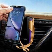 רכב אלחוטי מטען הידוק אוטומטי אינפרא אדום חיישן בעל מהיר טעינת רכב טלפון תמיכה 10W QI אינדוקציה מטען סוגר