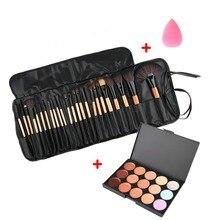 Beauty Makeup Set Tool Professional 15 Colors Face Concealer Contour Platte +1 Cosmetic Sponge Puff+24pcs Pro Brushes