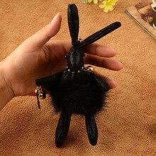 Роскошные Высокое Качество Симпатичные Кожи Животных Кролик Брелок Норки Помпоном Брелок Женщины Сумка Шарм Аксессуары Подвеска Key Holder