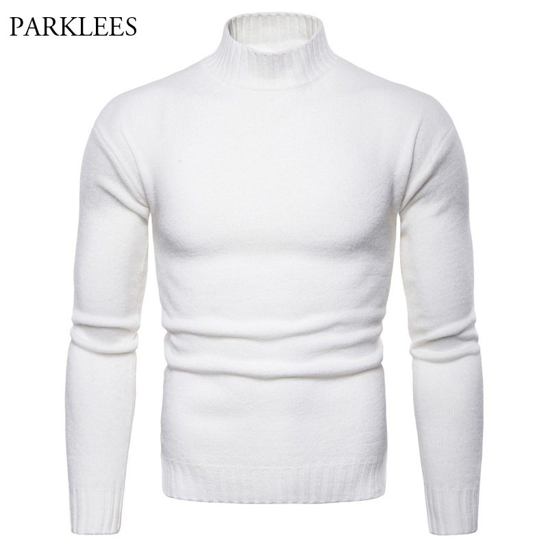 Brushed Sweater Men 2018 Autumn Winter Mens Pullovers Slim Fit Turtleneck Pull Homme Solid Color Christmas Sweaters Male Sweater