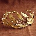 European Handmade Retro Vintage Baroque Hair Jewelry Metal Feather Gold Crown Leaf Tiara Headband Wedding Bridal Hair Accessory