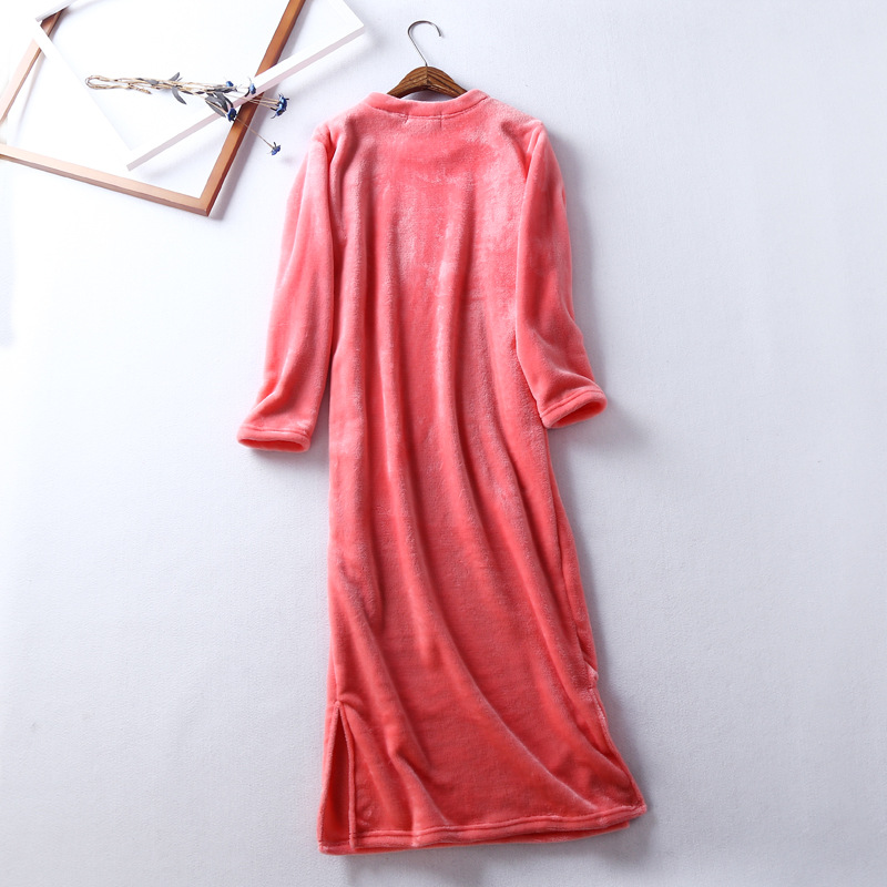 Winter Night Dress Flannel Sleepwear Gecelik Nightgown Long Thick Nightwear