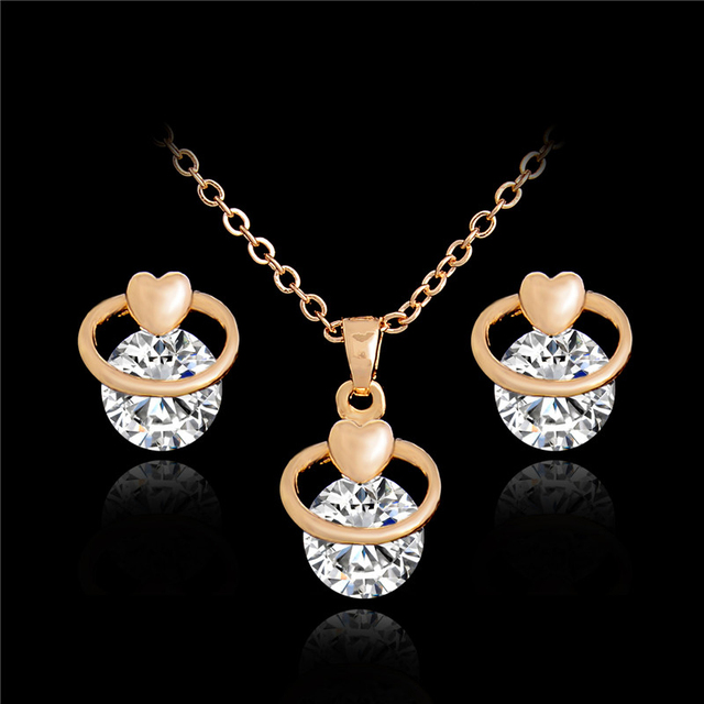 Aliexpress buy atreus enchanting pendant necklace earrings atreus enchanting pendant necklace earrings unusual jewelry sets gold color cubic zirconia 45cm necklace length aloadofball Images